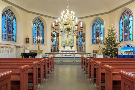 congregation: GOTHENBURG, SWEDEN - DECEMBER 15, 2015: Interior of the German Christinae church. Named after Queen Christina, it was inaugurated in 1748, and used by the German and Dutch congregation in Gothenburg. Editorial