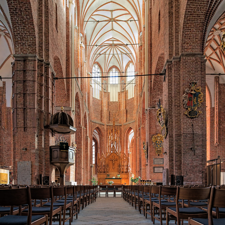 mentioned: RIGA, LATVIA - OCTOBER 12, 2011: Interior of the St Peters Church, the citys oldest religious building. The church is first mentioned in 1209. Current interior is the result of renovation after WWII. Editorial