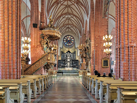 mentioned: STOCKHOLM, SWEDEN - APRIL 3, 2016: Interior of Storkyrkan (Great Church). The church was first mentioned in 1279 and according to tradition was originally built by Birger Jarl, the founder of the city