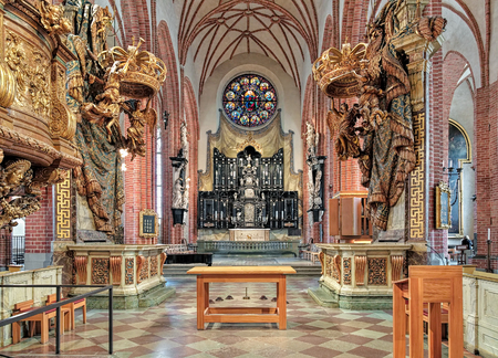 mentioned: STOCKHOLM, SWEDEN - APRIL 3, 2016: Chancel and altar of Storkyrkan (Great Church). The church was first mentioned in 1279 and according to tradition was built by Birger Jarl, the founder of the city. Editorial