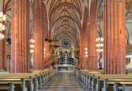 mentioned: STOCKHOLM, SWEDEN - APRIL 3, 2016: Interior of Storkyrkan (Great Church). The church was first mentioned in 1279 and according to tradition was originally built by Birger Jarl, the founder of the city. Editorial