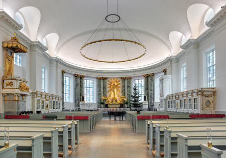 consecrated: GOTHENBURG, SWEDEN - DECEMBER 15, 2015: Interior of Gothenburg Cathedral. The first cathedral was inaugurated in 1633. The current cathedral was established in 1804 and consecrated on May 21, 1815.