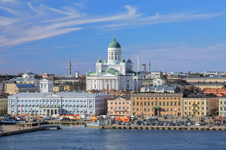 kauppatori: View of Helsinki Cathedral and Market Square (Kauppatori) in South Harbor of Helsinki, Finland