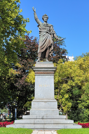 national poet: Budapest, Hungary. Monument of Sandor Petofi, Hungarys national poet and one of the key figures of the Hungarian Revolution of 1848. The monument was unveiled in 1882. Stock Photo