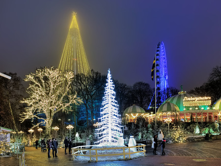 GOTHENBURG, SWEDEN - DECEMBER 17, 2015: Liseberg amusement park with Christmas decoration. It is one of the most visited amusement parks in Scandinavia and the most famous Christmas Market of Sweden.