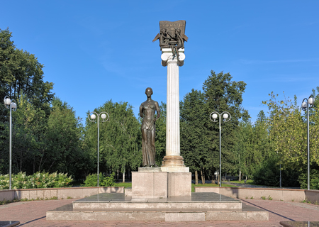 nikolay: TOMSK, RUSSIA - AUGUST 12, 2016: Monument to the Students of Tomsk or Monument to Saint Tatiana, a patroness of students. The monument by sculptors Nikolay and Anton Gnedykh was erected in August 2004.
