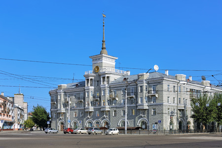 xx century: BARNAUL, RUSSIA - AUGUST 13, 2016: House under spire, a monument of architecture of the mid XX century, one of the citys symbol. It was built in 1953-1956 by design of architect Yakov Doditsa.