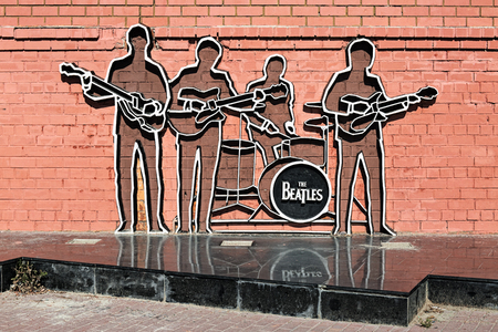 YEKATERINBURG, RUSSIA - AUGUST 19, 2016: The Beatles Monument. The monument by design of Vadim Okladnikov was unveiled on May 23, 2009, and this is the first monument to The Beatles in Russia. Editorial