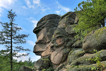 head profile: Ded rock (Grandfather rock) in the Stolby Nature Sanctuary. Stolby is the world famous Russian nature reserve; over 200,000 visitors per year are recorded.