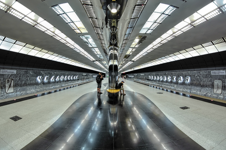 YEKATERINBURG, RUSSIA - AUGUST 19, 2016: Interior of the Chkalovskaya metro station. The station was opened on July 28, 2012; it was named after Valery Chkalov, a famous Russian aircraft test pilot.