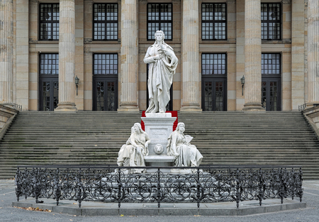 dramatist: Schiller Monument on the Gendarmenmarkt square of Berlin, Germany. The monument by the prominent 19th-century German sculptor Reinhold Begas was unveiled on November 10, 1871.