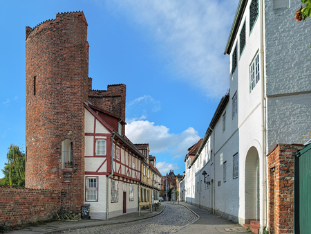 mauer: LUBECK, GERMANY - OCTOBER 20, 2016: Halbturm-Haus, a half-timbered house from 1672, built into the half tower of the 13th century citys ramparts, located at the street An der Mauer, 47.