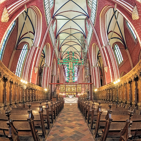 BAD DOBERAN, GERMANY - OCTOBER 22, 2016: Interior of Doberan Minster, the most important religious heritage of the European Route of Brick Gothic. The church was consecrated on June 3, 1368.