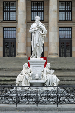 dramatist: Schiller Monument on the Gendarmenmarkt square of Berlin, Germany. The monument was unveiled on November 10, 1871.