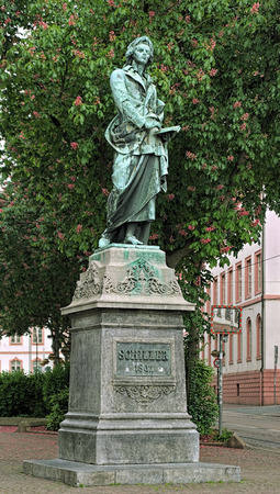 dramatist: Friedrich Schiller Monument on Schiller square in Mainz, Germany