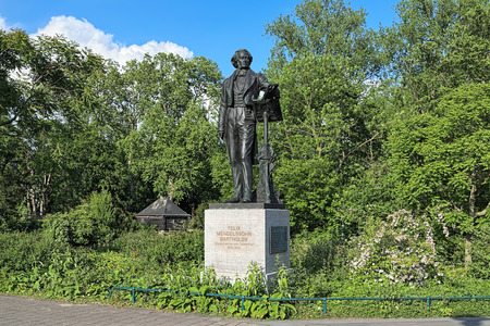 the nazis: Felix Mendelssohn Monument in Dusseldorf, Germany. The original statue by Clemens Buscher was unveiled in 1901 and torn down by the Nazis in 1936. On September 27, 2012 the recreated statue was re-installed.