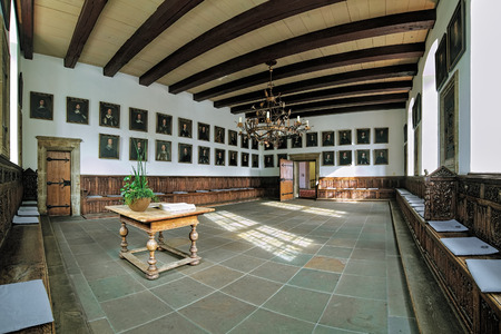 OSNABRUCK, GERMANY - MAY 28, 2015: Friedenssaal (Hall of Peace) in Osnabruck Town Hall. The Westphalian Peace Treaty of Osnabruck was signed here on October 24, 1648. Editorial