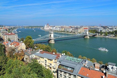 szechenyi: View of Budapest with Szechenyi Chain Bridge over Danube and Hungarian Parliament Building