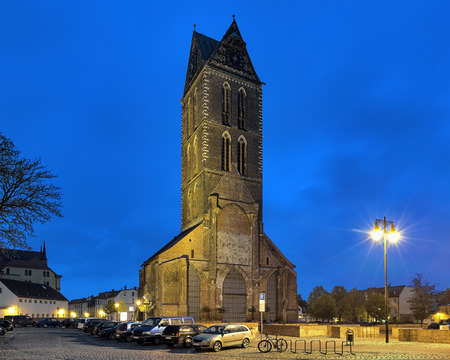 extant: Evening view of extant tower of Marienkirche (St. Mary Church) in Wismar, Germany