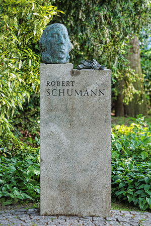 name day: Robert Schumann Monument in Dusseldorf, Germany. The monument by the German sculptor Karl Hartung was unveiled on September 29, 1956 in the park Hofgarten of Dusseldorf.