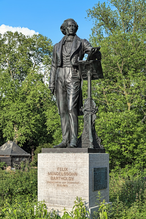 nazis: DUSSELDORF, GERMANY - MAY 20, 2015: Felix Mendelssohn Monument. The original statue by Clemens Buscher was unveiled in 1901 and torn down by Nazis in 1936. On September 27, 2012 the statue was re-installed.