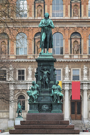 johannes: Schiller monument on the Schillerplatz square in Vienna, Austria. The monument was designed by Johannes Schilling, made by Franz Ponninger and Josef Rolic and unveiled on November 10, 1876.