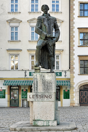 dramatist: VIENNA, AUSTRIA - DECEMBER 9, 2016: Gotthold Ephraim Lessing monument. The present monument by Siegfried Charoux was unveiled on May 28, 1968 at Ruprechtskirche and moved to Judenplatz square in 1981. Editorial