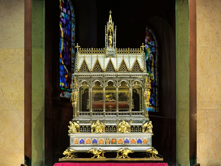 BUDAPEST, HUNGARY - DECEMBER 5, 2016: Shrine with Holy Right Hand of Saint Stephen I, first King of Hungary. Mummified right hand of the king kept in an ornate reliquary in St. Stephen's Basilica.