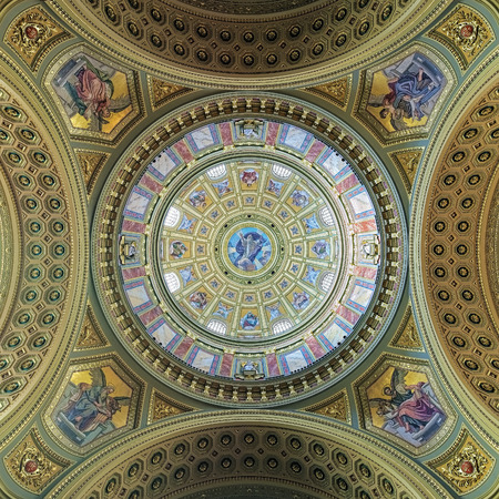 BUDAPEST, HUNGARY - DECEMBER 5, 2016: Painting of dome and ceiling of St. Stephens Basilica. The basilica is one of the most significant tourist attractions and the third highest church in Hungary. Editorial