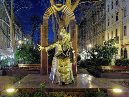 liszt: BUDAPEST, HUNGARY - DECEMBER 6, 2016: Franz Liszt sculpture on the Liszt square in night. It was created in 1986 by Laszlo Marton with architectural background by Jozsef Finta and Laszlo Szlavics, Jr.