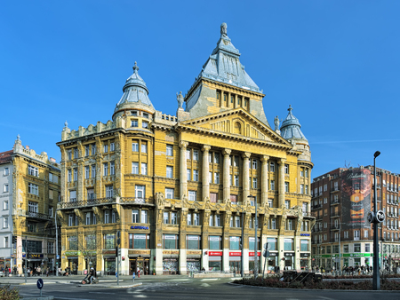 BUDAPEST, HUNGARY - DECEMBER 5, 2016: Anker House. It was built in 1908-1910 in eclectic style by design of architect Ignac Alpar as Budapest headquarter of the Vienna Insurance Company Anker.