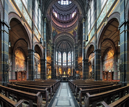 AMSTERDAM, NETHERLANDS - JANUARY 25, 2017: Interior of Basilica of St. Nicholas (Nicolaaskerk), the citys major Catholic church. The church was built in 1884-1887 by design of Adrianus Bleijs. Editorial