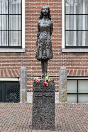 AMSTERDAM, NETHERLANDS - JANUARY 25, 2017: Anne Frank Monument. The monument by the Dutch sculptor Mari Andriessen was erected in 1975 outside the Westerkerk (Western church).