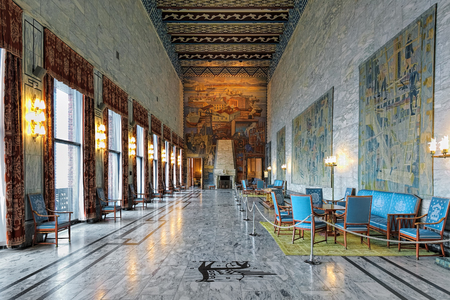 pivotal: OSLO, NORWAY - JANUARY 24, 2017: Interior of Festival Gallery in Oslo City Hall with frescoes by Axel Revold and tapestries by design of Kare Jonsborg, dedicated to the pivotal industries of Norway. Editorial
