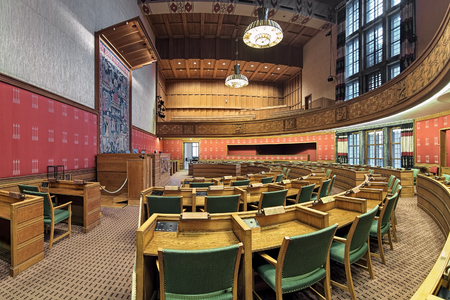 OSLO, NORWAY - JANUARY 22, 2017: City Council Chamber in Oslo City Hall. This is an open political arena where the public can observe City Council meetings from the gallery.