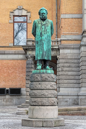 dramatist: Henrik Ibsen statue in Oslo, Norway. The statue by the Norwegian-Danish sculptor Stephan Sinding was erected in 1899 in front of the National Theater.