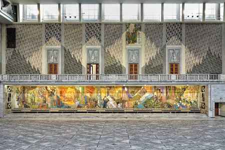 friso: OSLO, NORWAY - JANUARY 24, 2017: East wall of Main Hall in Oslo City Hall with the Occupation Frieze about 30 meters long. This fresco by the Norwegian painter Alf Rolfsen was finished in 1950.