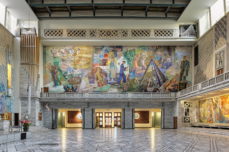 alf: OSLO, NORWAY - JANUARY 24, 2017: North wall of Main Hall in Oslo City Hall with fresco Working Norway from the drifting nets to the forests in east by the Norwegian painter Alf Rolfsen. Editorial