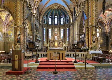 Chancel and altar of Matthias Church in Budas Castle District of Budapest, Hungary