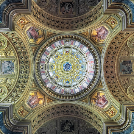 stephen: BUDAPEST, HUNGARY - DECEMBER 5, 2016: Painting of dome and ceiling of St. Stephens Basilica. The basilica is one of the most significant tourist attractions and the third highest church in Hungary. Editorial