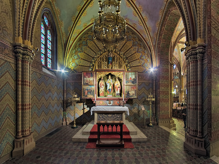 BUDAPEST, HUNGARY - DECEMBER 5, 2016: Saint Imre Chapel in Matthias Church. The winged altar with paintings of Mihaly Zichy (1827-1906) shows scenes of the life of Prince Saint Imre (1007-1031). Editorial