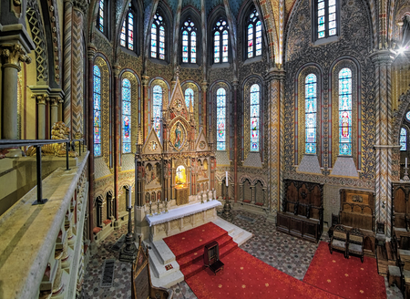 schulek: BUDAPEST, HUNGARY - DECEMBER 5, 2016: Main altar of Matthias Church, view from the balcony of royal oratory. The altar was created by Frigyes Schulek during the rebuilding of the church in 1874-1896.