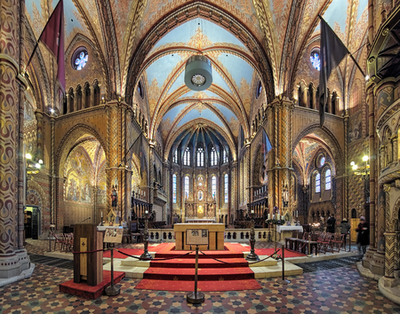 BUDAPEST, HUNGARY - DECEMBER 5, 2016: Chancel and altar of Matthias Church. The church was the venue of several coronations, including that of Charles IV in 1916, the last Habsburg king.