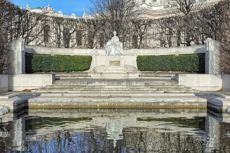 Empress Elisabeth Monument in Volksgarten park of Vienna, Austria. The monument was unveiled on June 4, 1907. Editorial