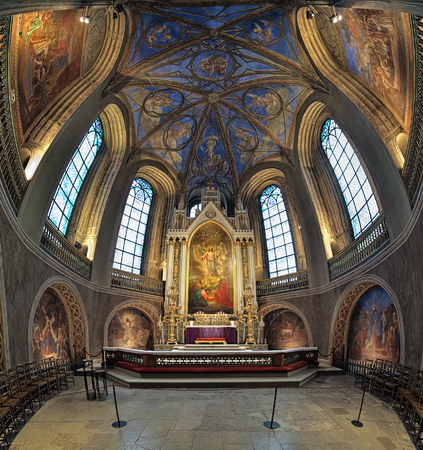 reredos: TURKU, FINLAND - MARCH 2, 2017: Chancel and altar of Turku Cathedral. The altarpiece was painted in 1836 by Fredrik Westin. The wall frescoes were created by Robert Wilhelm Ekman in 1850-1854.