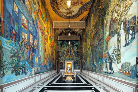 OSLO, NORWAY - JANUARY 24, 2017: Interior of East Gallery (Krohg Room) in Oslo City Hall with frescoes The City and its environs painted by the Norwegian artist Per Krohg in 1940-1949. Editorial