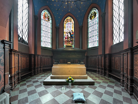 TURKU, FINLAND - MARCH 3, 2017: Kankas Chapel of Turku Cathedral with tomb and burial monument of Karin Mansdotter, a Queen of Sweden (4 July 1568 - 29 September 1568) and wife of Eric XIV of Sweden.