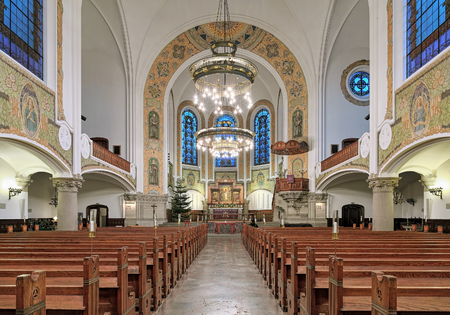 MALMO, SWEDEN - DECEMBER 13, 2015: Interior of St. Johns Church (Sankt Johannes kyrka). The church was designed by the Swedish architect Axel Anderberg in the Art Nouveau style and built in 1903-1907