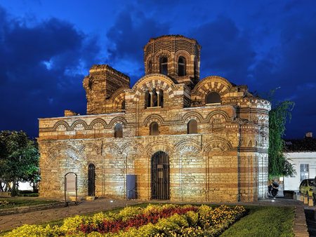 Church of Christ Pantocrator of the 13th-14th century in Nessebar in night, Bulgaria