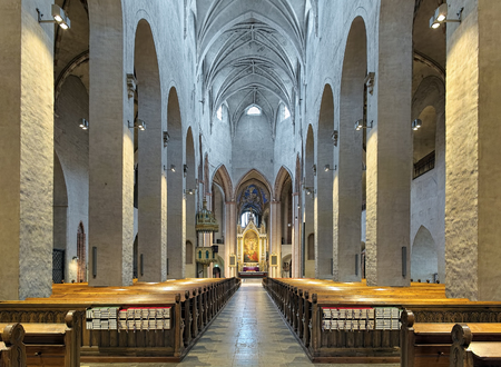 TURKU, FINLAND - MARCH 2, 2017: Interior of Turku Cathedral. The cathedral is the Mother Church of the Evangelical Lutheran Church of Finland. It was consecrated in 1300. Editorial